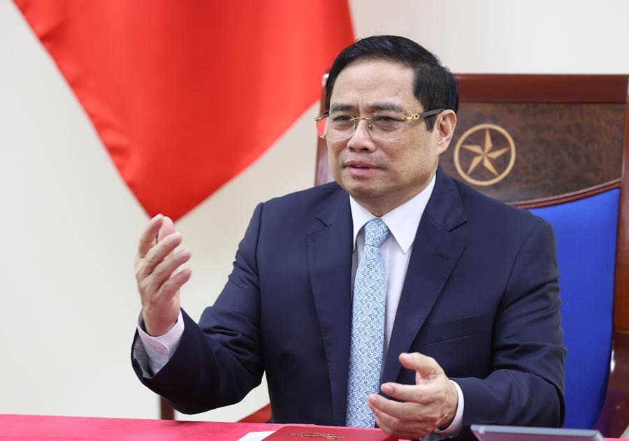 Thủ tướng Phạm Minh Chính tại cuộc điện đàm - Ảnh: Bộ Ngoại giao.