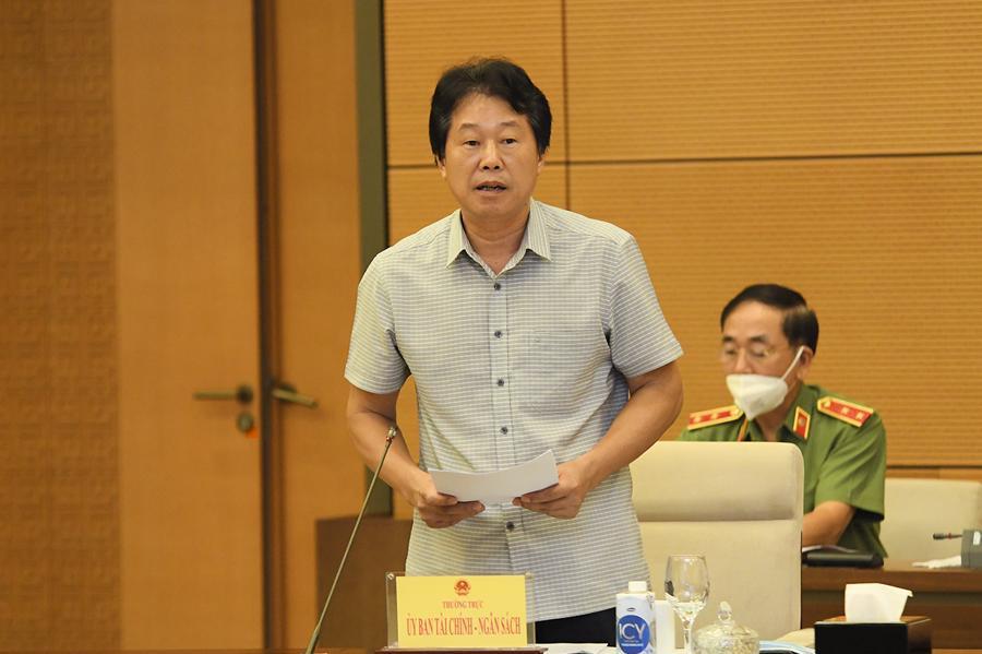 Phó Chủ nhiệm Ủy ban Tài chính - Ngân sách Đinh Văn Nhã trình bày báo cáo tại phiên họp - Ảnh: Quochoi.vn