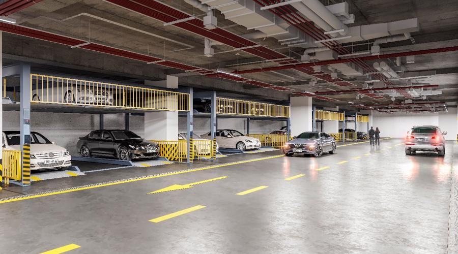 Hầm đỗ xe thông minh 2 tầng tự động nhận diện biển số xe từ xa.