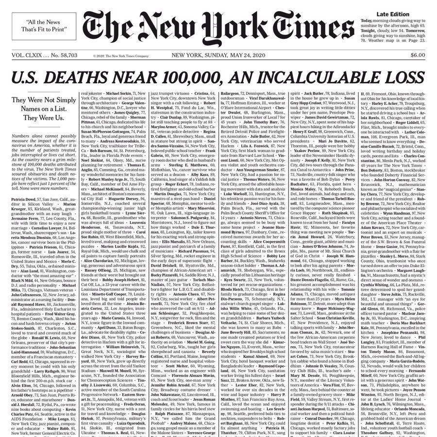 Trang bìa dành trọn vẹn để in cáo phó với thông tin vắn tắt của những người tử vong vì Covid-19 tại Mỹ trên tờ New York Times số ra ngày 24/5 - Ảnh: Nytimes.