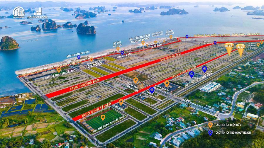Phuong Dong Royal Shop Villas (BT15 và BT16) nằm trong quần thể biển Phương Đông Vân Đồn với hạ tầng hoàn thiện 80%.