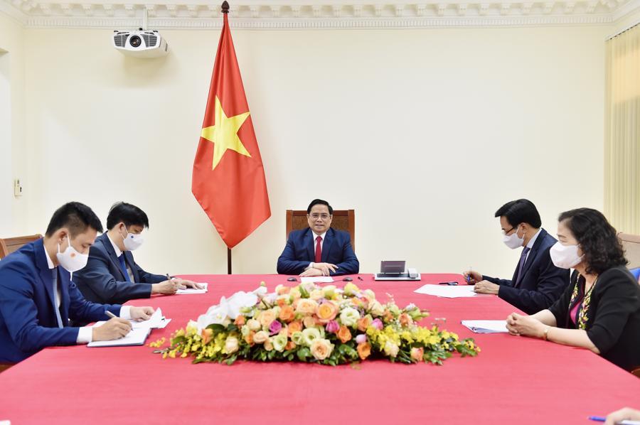Toàn cảnh cuộc điện đàm ở đầu Việt Nam - Ảnh: VGP