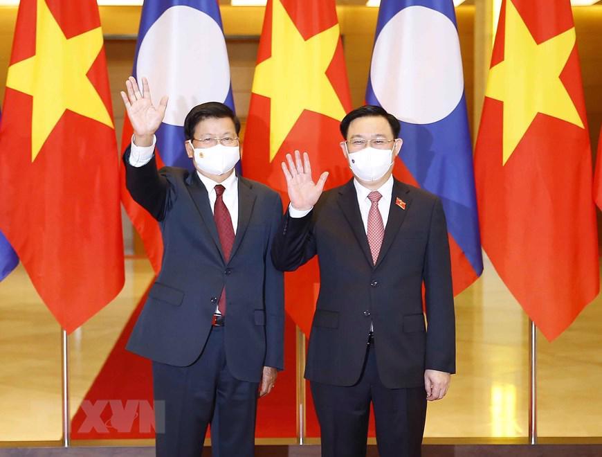 Về quan hệ hai cơ quan lập pháp, Tổng Bí thư, Chủ tịch nước Lào đề nghị Quốc hội Việt Nam hỗ trợ, giúp đỡ cho Quốc hội Lào trong công tác lập pháp, giám sát và quyết định những vấn đề quan trọng của đất nước, tin tưởng kỳ họp thứ nhất Quốc hội khoá XV sẽ tiếp tục đưa Việt Nam phát triển trên tất cả các lĩnh vực. Khẳng định công trình nhà Quốc hội vừa được đưa vào sử dụng tại Kỳ họp thứ nhất, Quốc hội Lào khoá IX vừa qua là món quà hết sức quý giá, ý nghĩa, là sự tự hào của Nhân dân Lào.