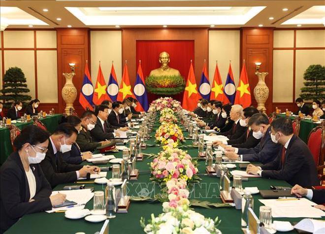 Hội đàm giữa Tổng Bí thư Nguyễn Phú Trọng đón tiếp Tổng Bí thư, Chủ tịch nước Lào Thongloun Sisoulith - Ảnh: Trí Dũng/TTXVN