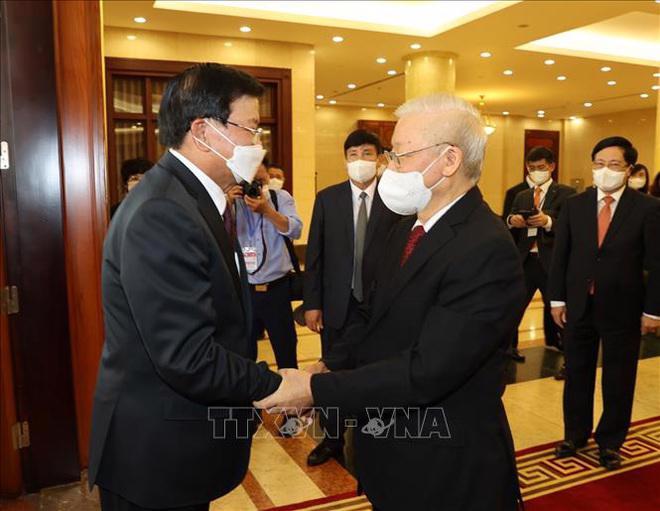 Tổng Bí thư Nguyễn Phú Trọng đón tiếp Tổng Bí thư, Chủ tịch nước Lào Thongloun Sisoulith - Ảnh: Trí Dũng/TTXVN
