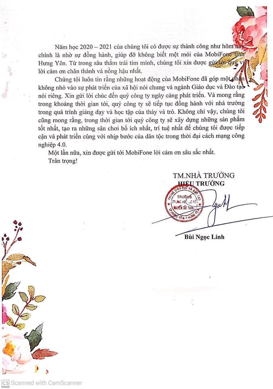 Bức thư xúc động của thầy trò trường THCS Nguyễn Tất Thành gửi đến MobiFone tỉnh Hưng Yên.