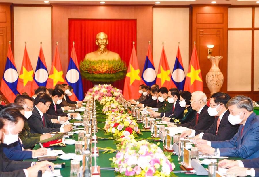 Tổng Bí thư, Chủ tịch nước Lào Thongloun Sisoulith hội đàm Tổng Bí thư Nguyễn Phú Trọng - Ảnh: VGP