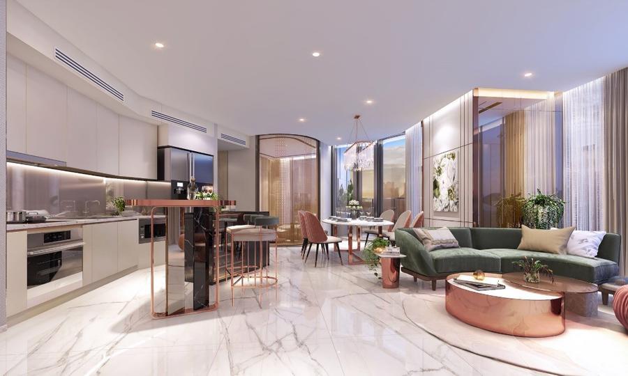Không gian rộng rãi với nội thất đi kèm phù hợp đã tạo ra một căn hộ sang trọng, đẳng cấp xứng tấm cho gia chủ tại Thảo Điền Green.