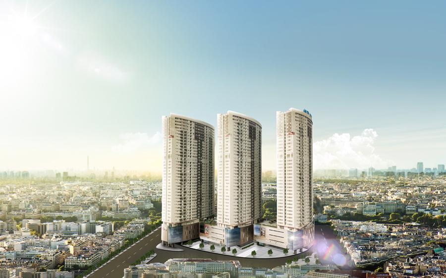 Toà nhà The Vlasta - Văn Phú được nghiên cứu xây dựng theo 3 hình elips xoay nghiêng giúp đón không khí tươi vào trong căn hộ.