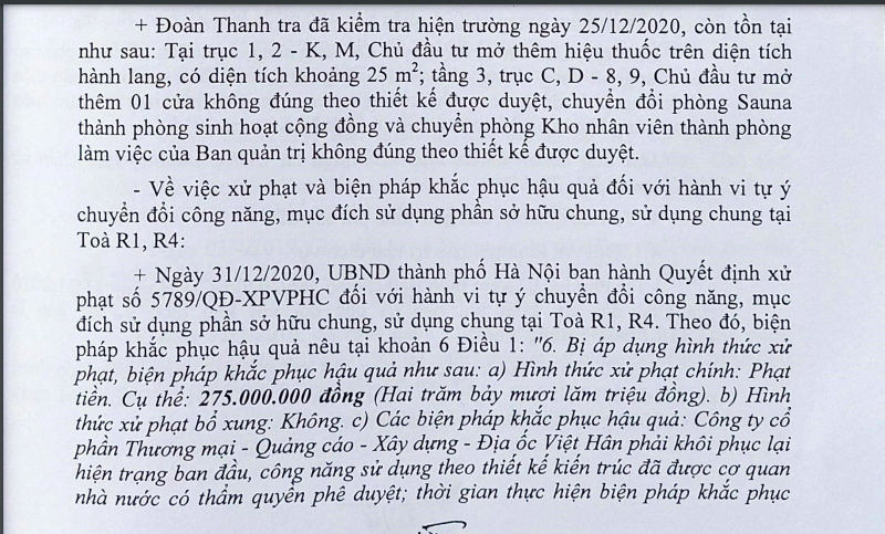 Kết luận của Thanh tra Bộ Xây dựng.