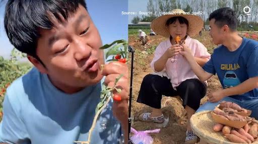 Nông dân Trung Quốc livestream bán hàng trên nền tảng Douyin - Ảnh: Douyin