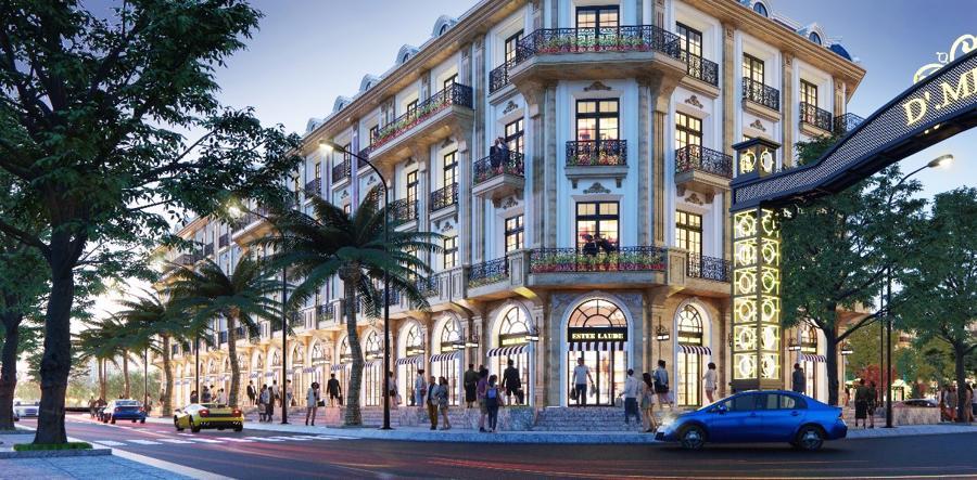 Shophouse D'. Metropole Hà Tĩnh sở hữu ít nhất 2 mặt tiền trước và sau.