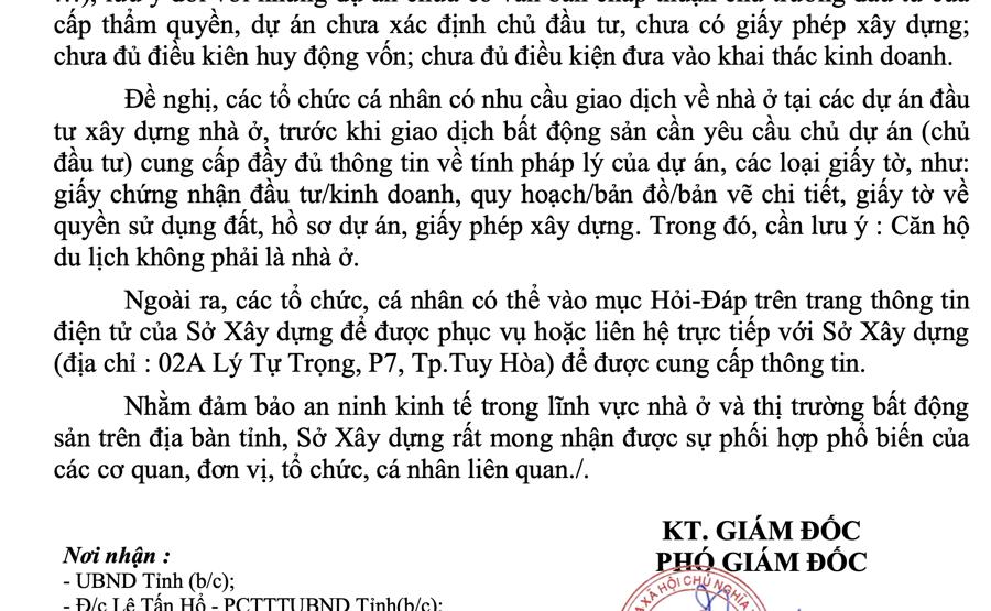 Phú Yên: Công khai thông tin các dự án bất động sản - Ảnh 1