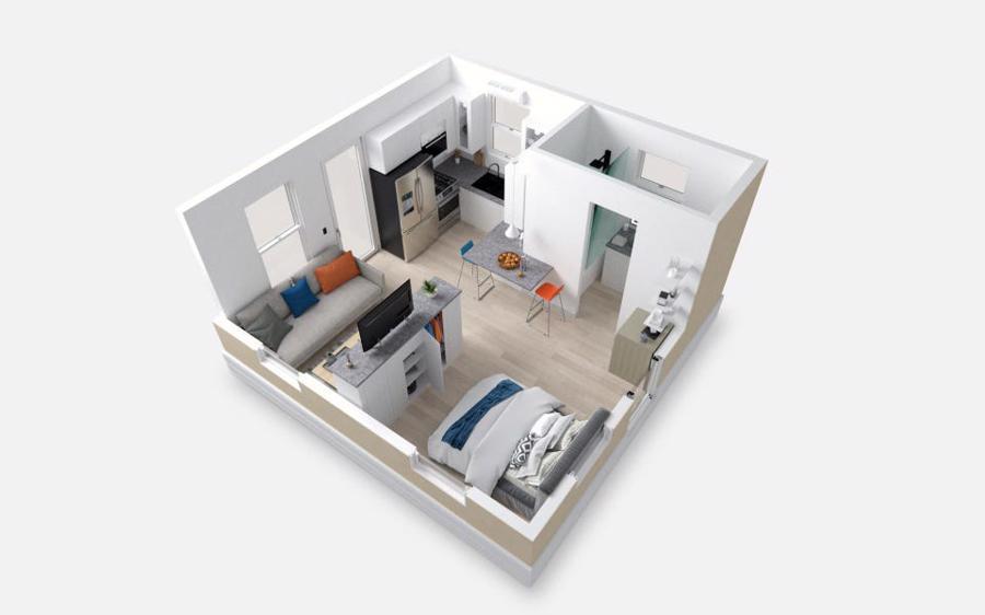 Hình ảnh 3D bên trong một căn hộ lắp ghép 35m2 củaBoxabl - Ảnh:Boxabl