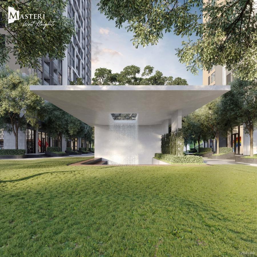 Phối cảnh thác nước ánh sáng tại Masteri West Heights dưới bàn tay tài hoa của đội ngũ đối tác thiết kế đẳng cấp quốc tế.