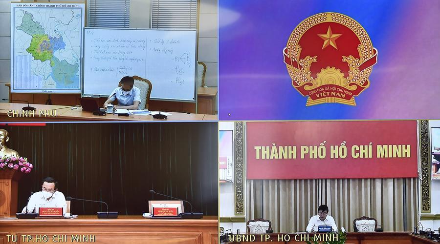 Các điểm cầu tại cuộc họp trực tuyến. Ảnh - VGP.