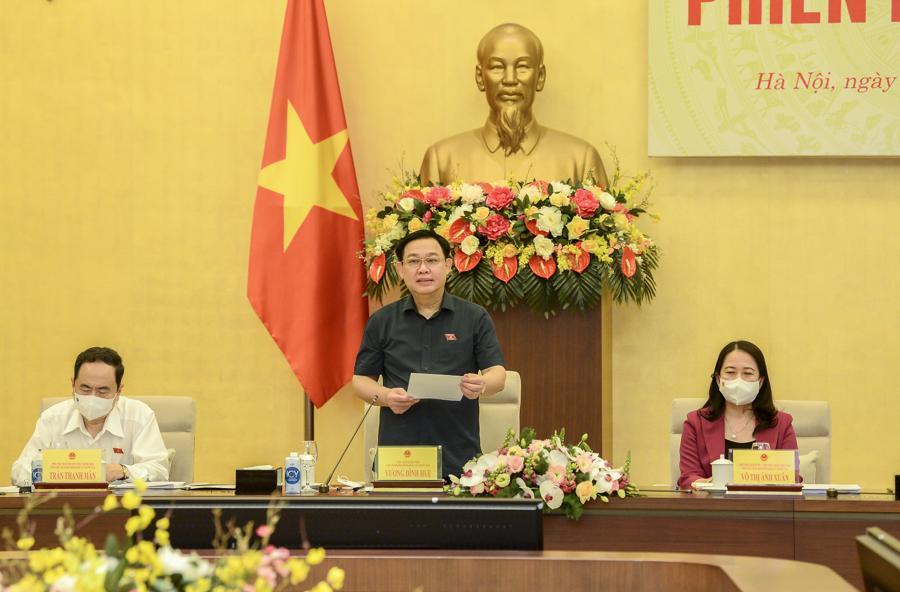 Chủ tịch Quốc hội,Chủ tịch Hội đồng bầu cử quốc giaVương Đình Huệ phát biểu tại phiên họp - Ảnh: Quochoi.vn