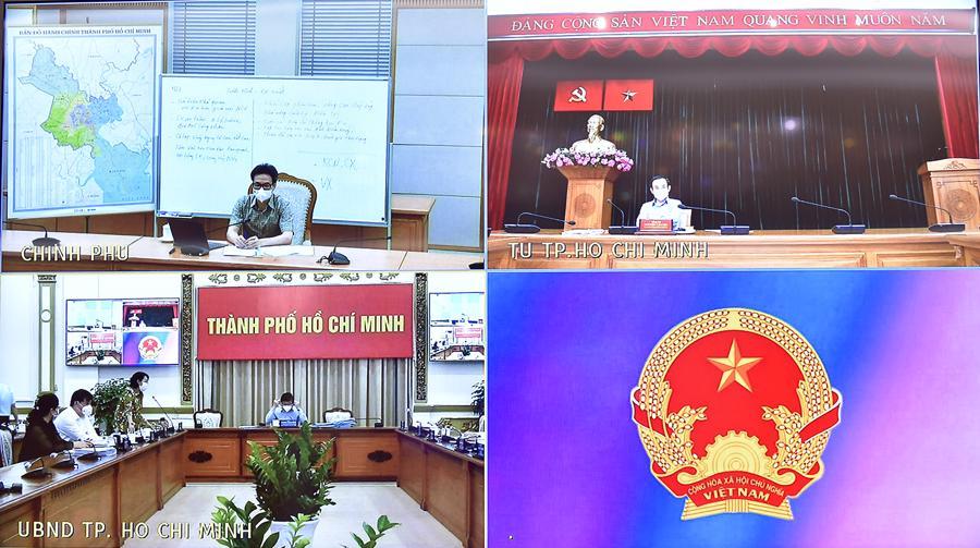 Các điểm cầu tham dự cuộc họp trực tuyến sáng 12/7. Ảnh - VGP.