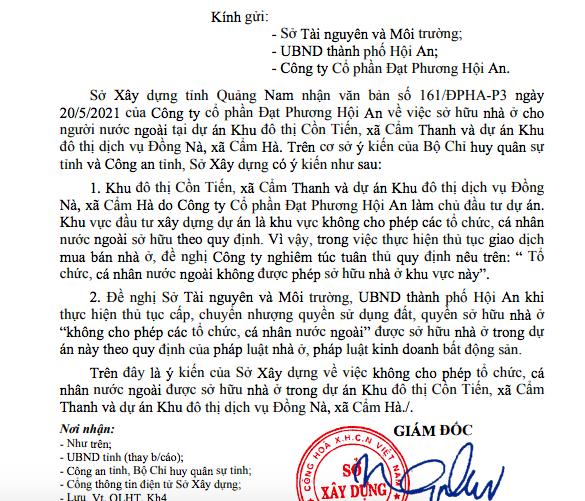 Văn bản của Sở xây dựng Quảng Nam.