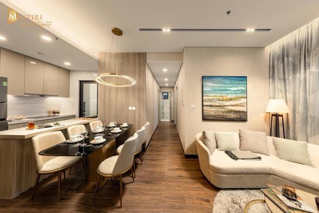 Khu vực phòng khách, phòng bếp được thiết kế hiện đại và phù hợp công năng.