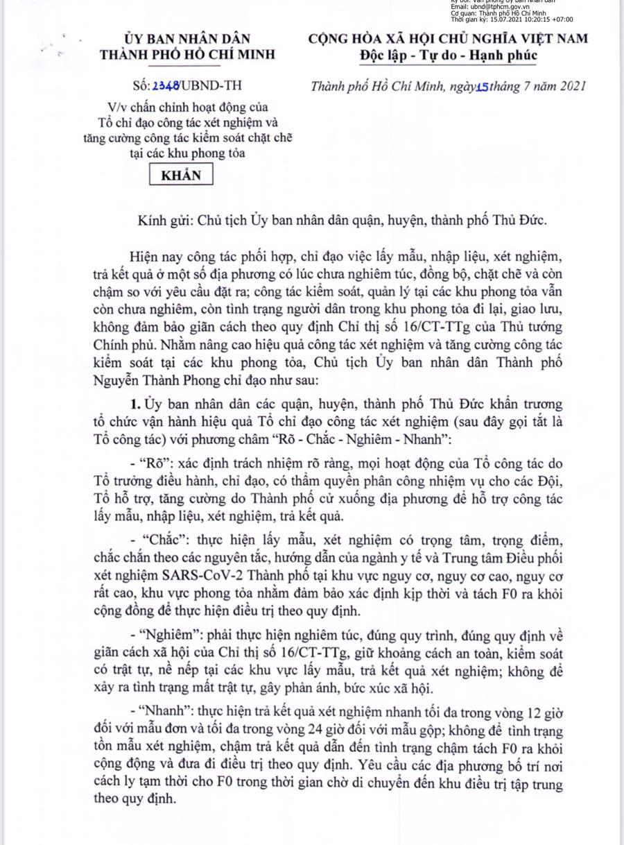 Công văn số 2348/UBND-TH của UBND TP.HCM
