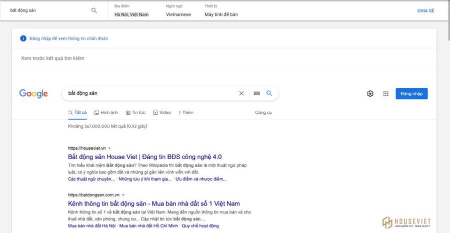 """Kết quả hiển thị từ khoá """"Bất động sản"""" từ Google Ads. Công cụ xem trước và chuẩn đoán quảng cáo của Google."""