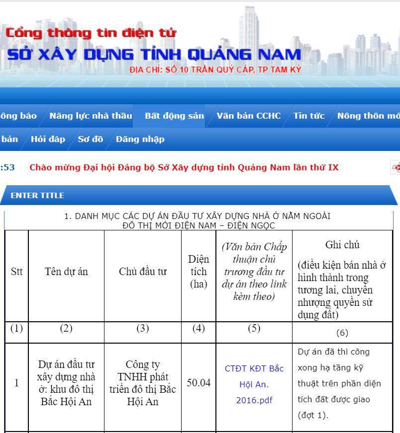 Thông tin dự án trên website Sở xây dựng Quảng Nam.