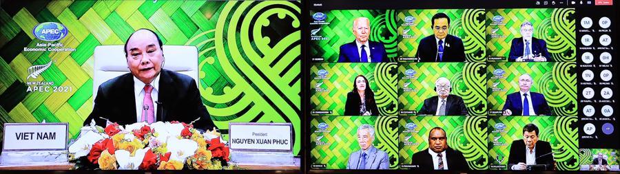 Chủ tịch nước và lãnh đạo các nền kinh tế thành viên APEC tại cuộc họp - Ảnh: TTXVN.