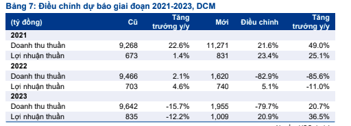 HSC điều chỉnh dự báo doanh thu lợi nhuận DCM.