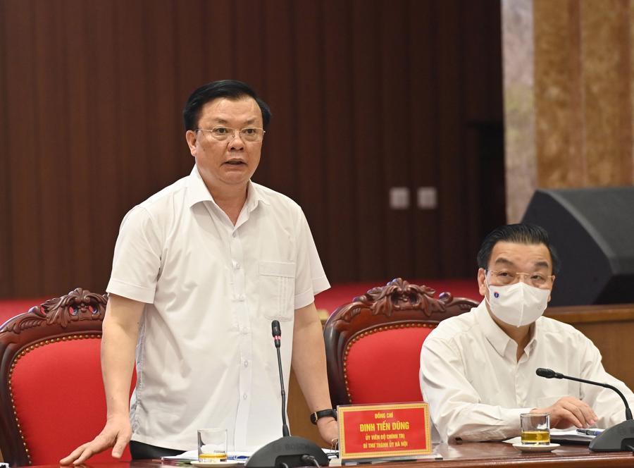 Bí thư Thành ủy Hà Nội Đinh Tiến Dũng phát biểu tại cuộc làm việc -Ảnh: VGP