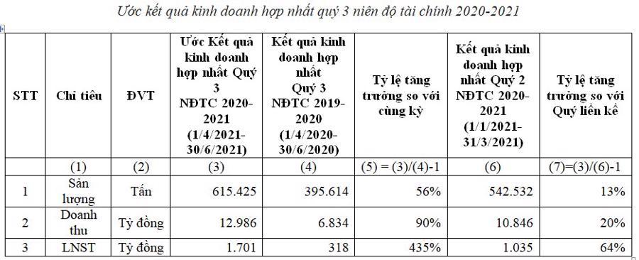 HSG: Quý 3 niên độ tài chính 2020-2021 đạt lợi nhuận sau thuế 1.701 tỷ đồng - Ảnh 1