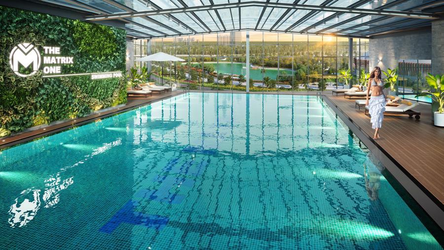 Bể bơi giữa tầng không của The Matrix One nối giữa 2 tòa tháp view trực diện công viên 14ha.
