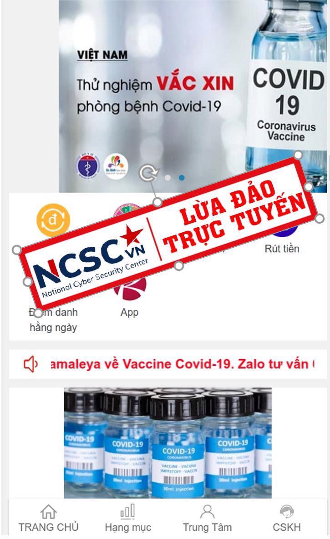 Ứng dụng giả mạo yêu cầu đăng ký mua và tiêm vaccine dịch vụ