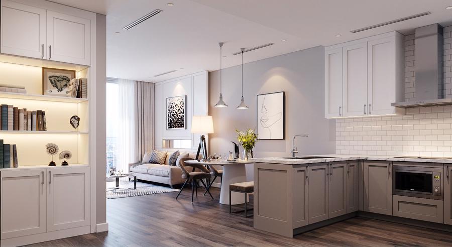 Thiết kế căn hộ 2 Phòng ngủ tại The Nine với tủ bếp Shaker Kitchen.