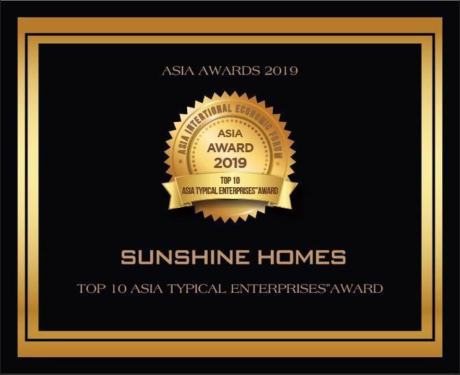 Sunshine Homes đạt giải thưởng Top 10 thương hiệu được tin dùng nhất Châu Á tại Asia Awards 2019.