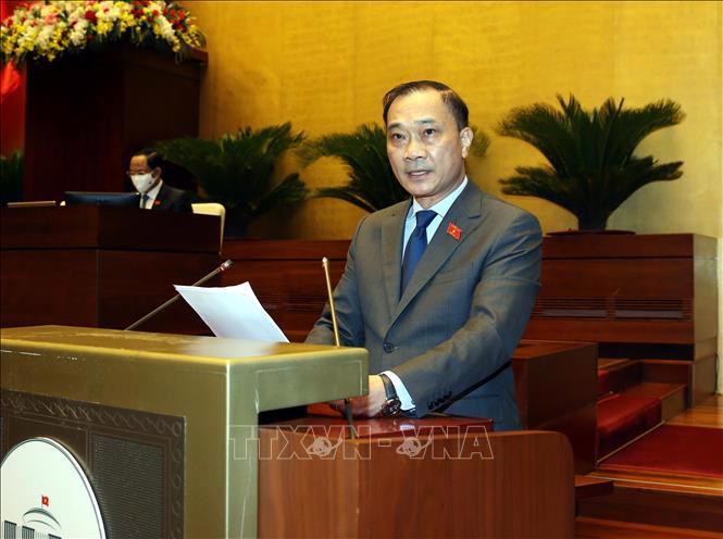 Chủ nhiệm Ủy ban Kinh tế của Quốc hội Vũ Hồng Thanh trình bày báo cáo thẩm tra tại phiên họp - Ảnh: TTXVN
