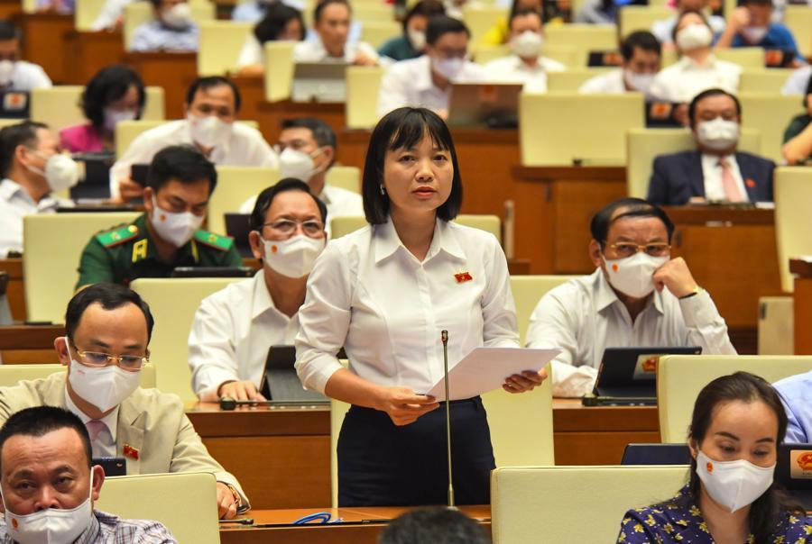 Đại biểu Nguyễn Thị Việt Nga thảo luận tại phiên họp - Ảnh: Quochoi.vn
