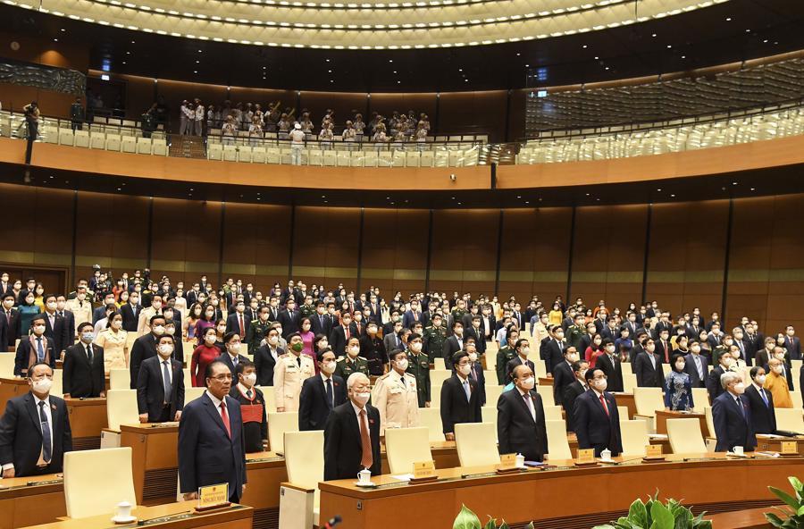 Quốc hội làm lễ chào cờ, bế mạc kỳ họp thứ nhất, Quốc hội khóa XV . Ảnh: Quochoi.vn