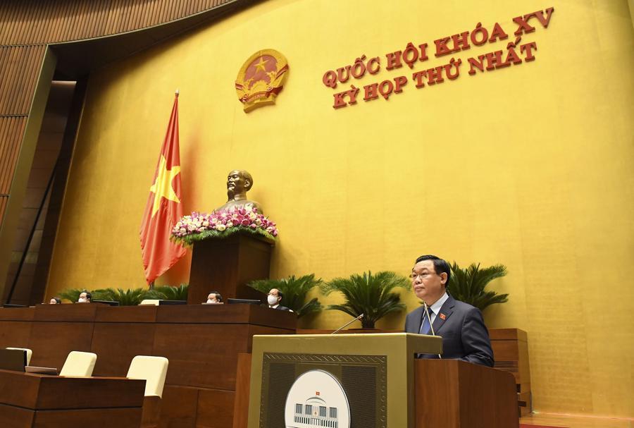 Chủ tịch Quốc hội Vương Đình Huệ phát biểu bế mạc kỳ họp - Ảnh: Quochoi.vn