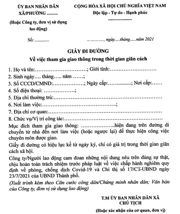 Mẫu giấy tờ sử dụng cho người đủ điều kiện lưu thông trên địa bàn Hà Nội trong thời gian giãn cách xã hội.