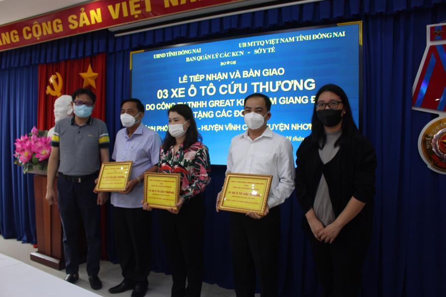 Lễ tiếp nhận 3 xe ô tô cứu thương hỗ trợ phòng, chống dịch Covid-19 cho trung tâm y tế các huyện: Vĩnh Cửu, Nhơn Trạch và TP. Biên Hòa.