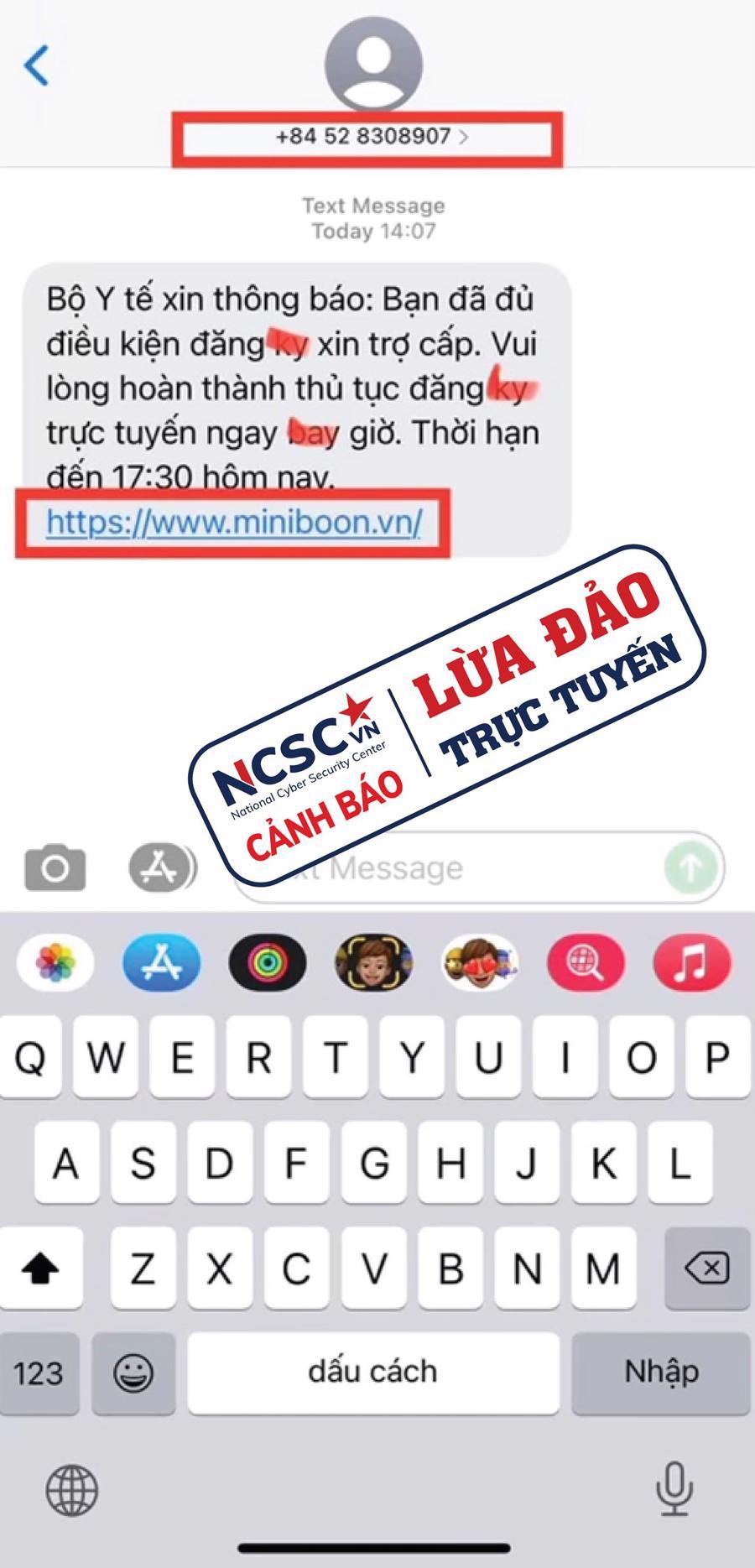 Tin nhắn SMS lừa đảo, yêu cầu truy cập link và làm theo hướng dẫn nhằm lấy cắp thông tin cá nhân và có thể mất tiền trong tài khoản khi cung cấp mã OTP.