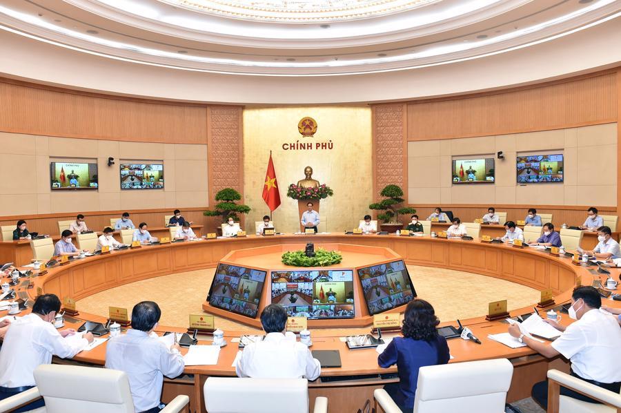 Toàn cảnh cuộc họp tại đầu Chính phủ - Ảnh: VGP
