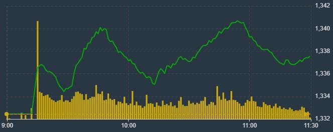VN-Index có hai đỉnh tăng không thành công sáng nay.