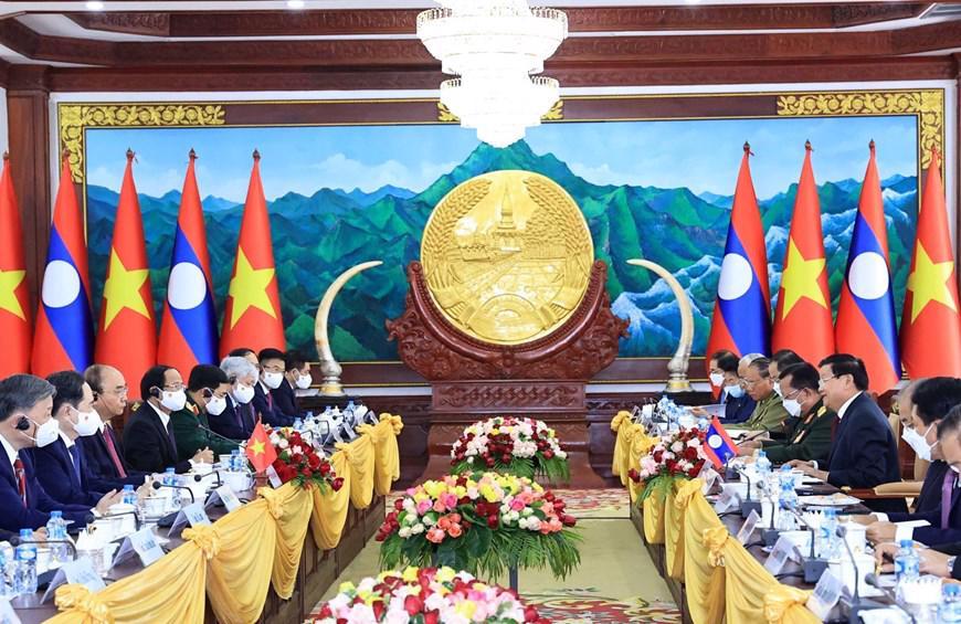 Hội đàm cấp cao Việt - Lào - Ảnh: TTXVN