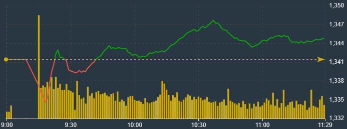 VN-Index sáng nay bị các blue-chips kiềm chế rõ ràng.