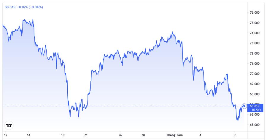 Diễn biến giá dầu thô WTI giao sau tại Mỹ trong 1 tháng qua. Đơn vị: USD/thùng - Nguồn: Trading View.