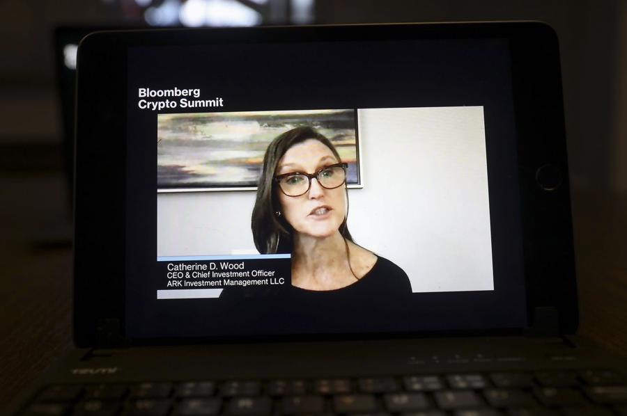 Bà Cathie Wood xuất hiện trong một chương trình của Bloomberg - Ảnh: WSJ.