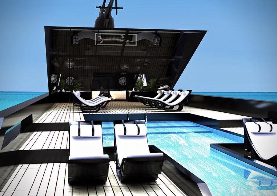 Siêudu thuyềncó một sân đỗ trực thăng riêng trên nóc và bể bơi ngoài trời.