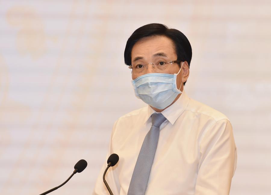 Bộ trưởng, Chủ nhiệm Văn phòng Chính phủ Trần Văn Sơn tại họp báo Chính phủ thường kỳ tháng 7 -Ảnh: VGP/Nhật Bắc